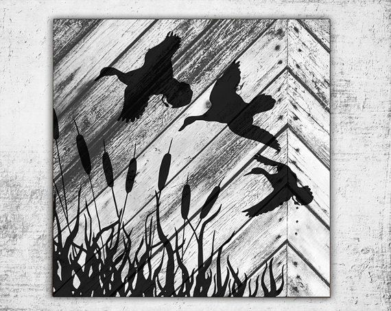 Wooden Ducks Sign 16x16 Home Decor Outdoors by BlayedStudios