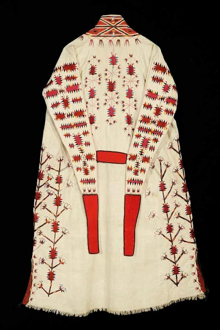 """""""Chyrpy"""", turkoman women's head-robe, traditional costume, 19th century, silk embrodiery on cotton cloth. Nomads ethnic textiles, Central Asia."""