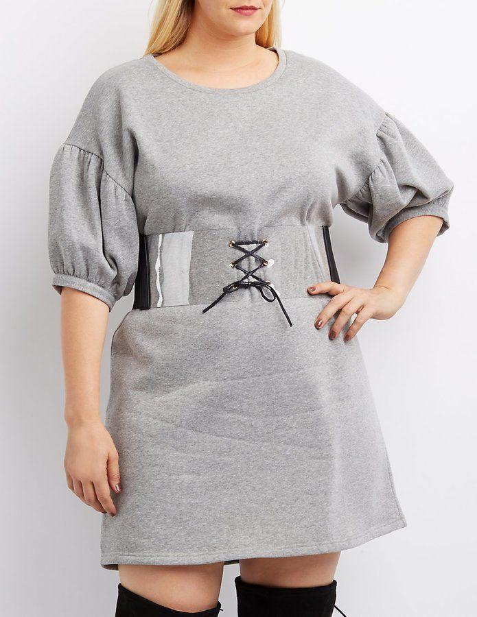 Charlotte Russe Plus Size Balloon Sleeve Sweatshirt Dress