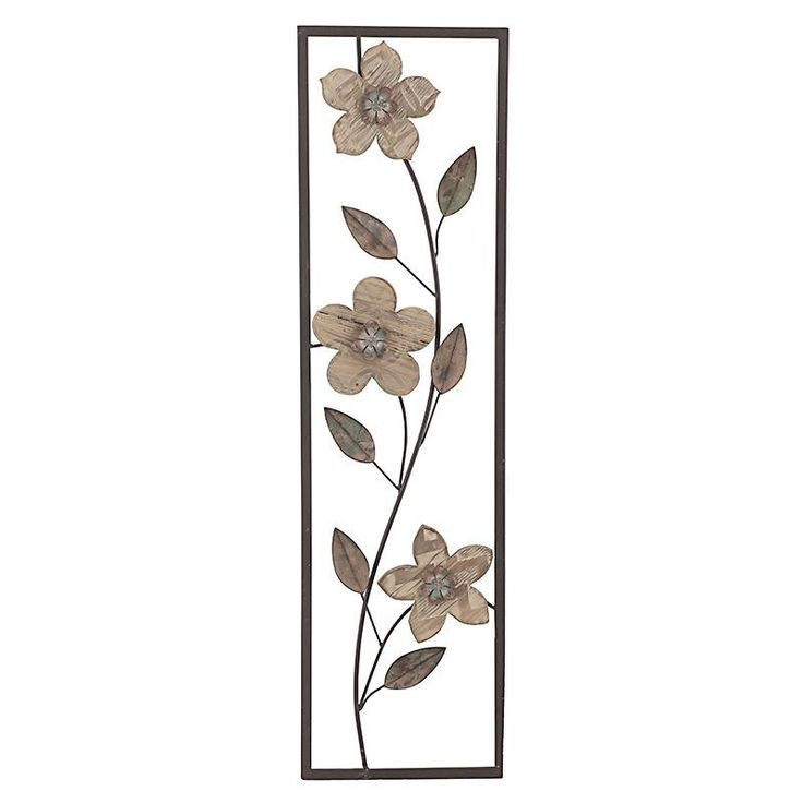 Metal Wall Decoration With Flowers - Metallic - PAINTINGS