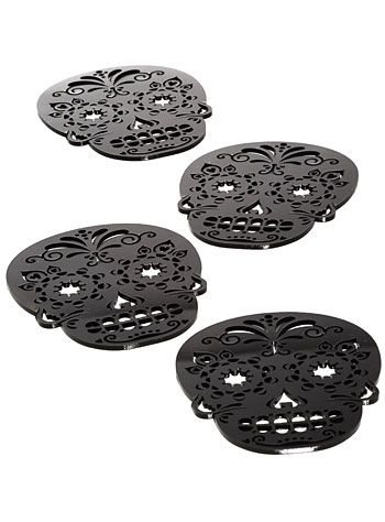 Black Sugar Skull Coasters Set | $18.00