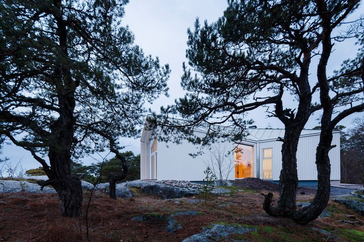 Mer Arkkitehdit sets spruce-panelled villa into cliff face in Finnish seaside town