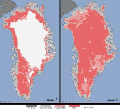 Greenland icesheet melt record broken in July 2012: Icesheet, Greenland Ice, July 12, Climate Changing, Global Warm, Ice Sheet, Ice Melted, 30 Years, Hot Summer