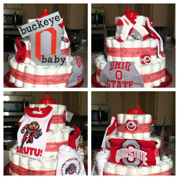 Ohio State Buckeye Baby diaper cake!! Love how cute it turned out