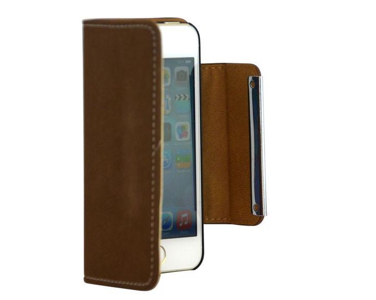 Luxe suede bookcase boek hoesje iPhone 5/5S bruin