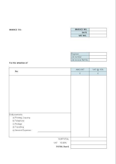 Simple Printable Sale blank Invoice Templates