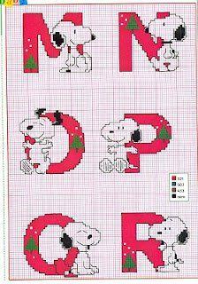 Oh my Alfabetos!: Alfabeto navideño de Snoopy para punto de cruz.
