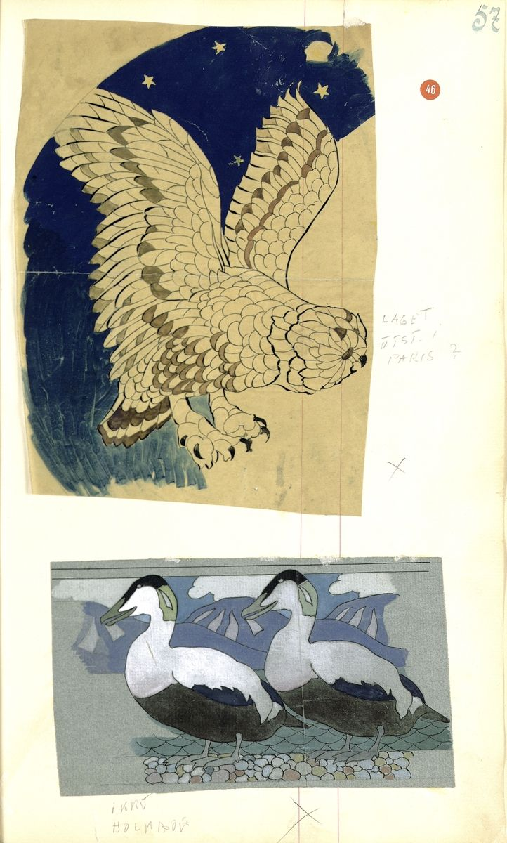 Watercolors  by Gustav Gaudernack, (1) sketch for silver dish with owl motif, plique a-jour enamel. Dish probably exhibited at the 1900 World Exhibition in Paris. (2) Eider ducks, ornamental composition (After Th. Holmboe).  Digitalt Museum, Public