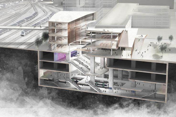 japanese architect kengo kuma has unveiled plans for the 'saint-denis pleyel railway station' in paris - the main hub of the city's new rapid transit line.