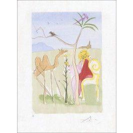 """Salvador DALI - Lithographie Originale """"Le Bestiaire de la Fontaine, La cour du Lion""""  : Galerie 125"""