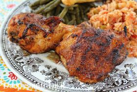 Mojo Chicken - Pollo Asado from Deep South Dish blog. A flavorful grilled chicken, marinated in a bold and zesty blend of oil, citrus, garlic and fiery seasonings. Traditionally served with white rice, shown here with a mild, Spanish rice and skillet green beans.