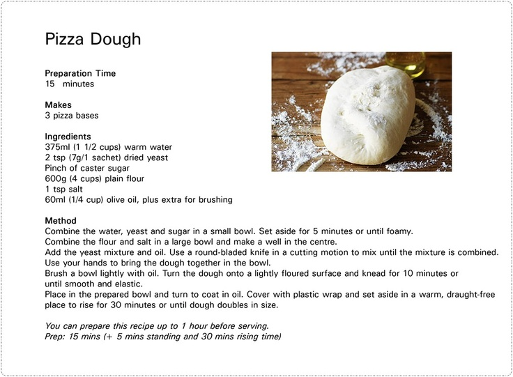 Greatfun4kids Easy And Yummy Pizza Dough Printable Recipe Card