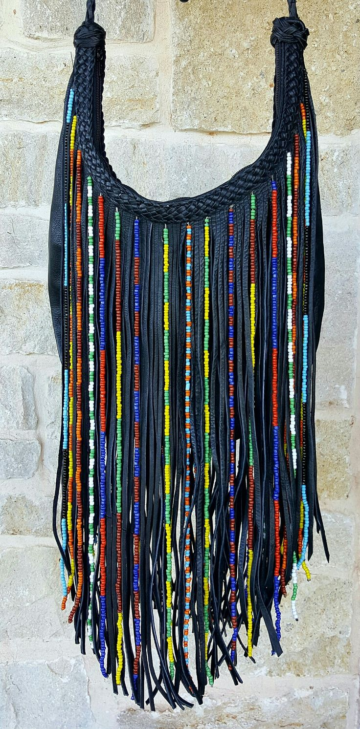 "Black Leather ""Gypsy Bag"" with Glass Beads and Long Fringe"