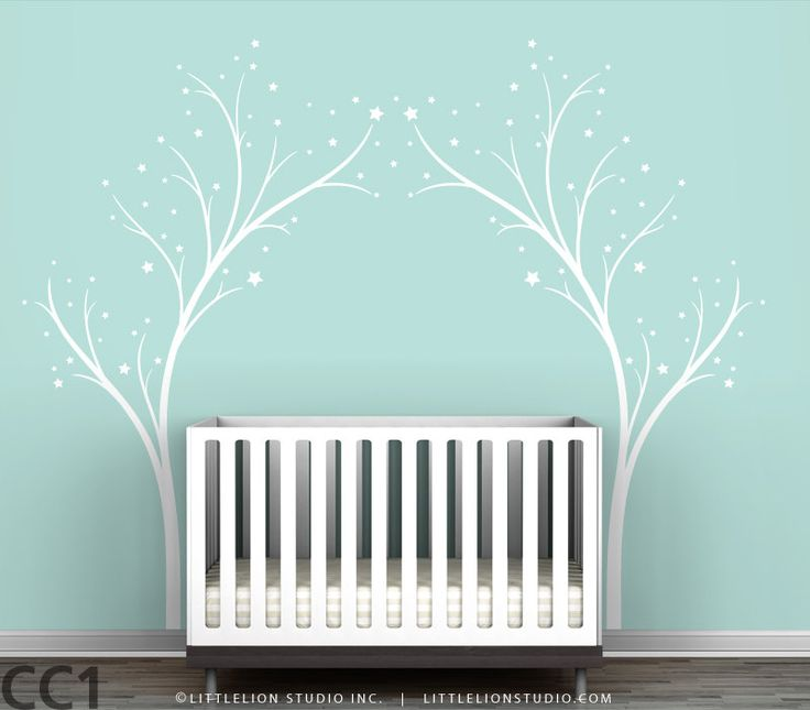 Twinkle Tree Gate Wall Decal - Tree Stars Decal - White Tree - White Stars - Blue, Dark Brown, Pink, Lilac - Modern Kids Room Decor. $89.00, via Etsy.
