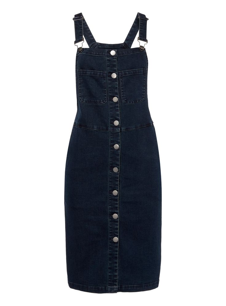 The ideal piece for layering over a frilled blouse or checked skirt, this pinafore dress presents adjustable shoulder straps secured by hook fastenings, contrast seam detailing for added edge and button fastenings running vertically down the piece. Navy pinafore dress Adjustable straps Hook fastenings Above knee length Model's height is 5'11''
