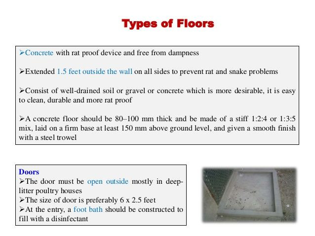 Poultry Housing System Concrete Floors Types Of Flooring How To Level Ground