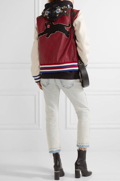 Gucci - Appliquéd Leather And Wool Bomber Jacket - Claret - IT