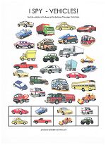 I-Spy worksheets. free Ispy games / printables for preschool-age toddlers. Several variations and themes here. My son will love this vehicle page.