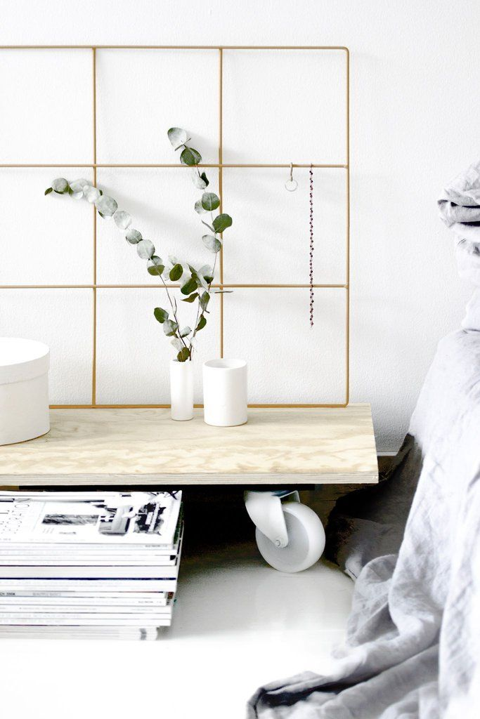 Light Nordic Interior | Scandinavian Style | Bedside Magazine Stack