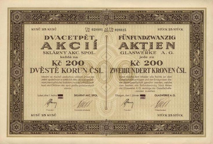 Sklárny akc. spol. (Glaswerke A.G.). Akcie na 25x 200 Kč (5 000 Kč). Loket (Elbogen), 1932. Sklárny Loket.