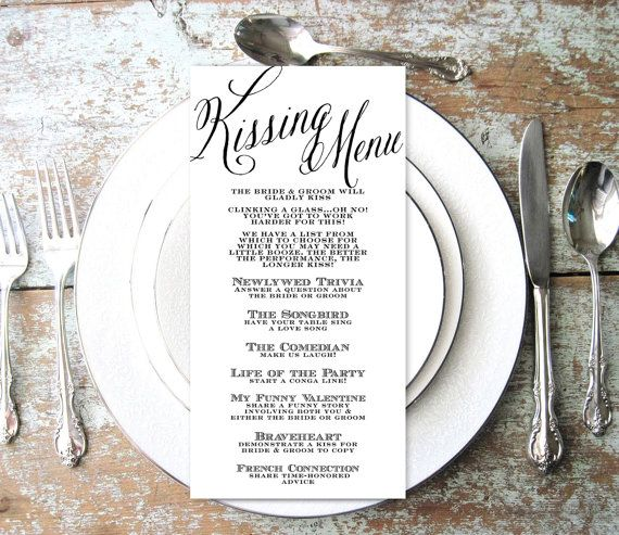 Kissing Menu, Wedding Kissing Menu, Elegant, Script, INSTANT DOWNLOAD, Wedding Game, Shower Game, Reception Game, Engagement, Fun game