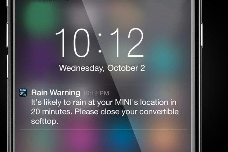 MINI Convertible rain warner app.