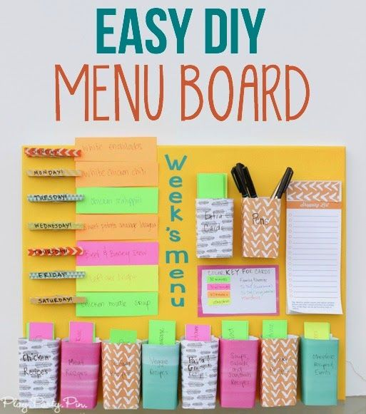 Easy DIY weekly menu board from playpartypin.com - combination meal planner + weekly menu board