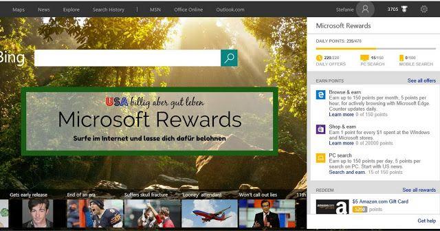 Surfe im Internet oder suche mit Bing werde mit Gift Cards belohnt http://usabilligabergutleben.blogspot.com/2016/09/microsoft-rewards.html .