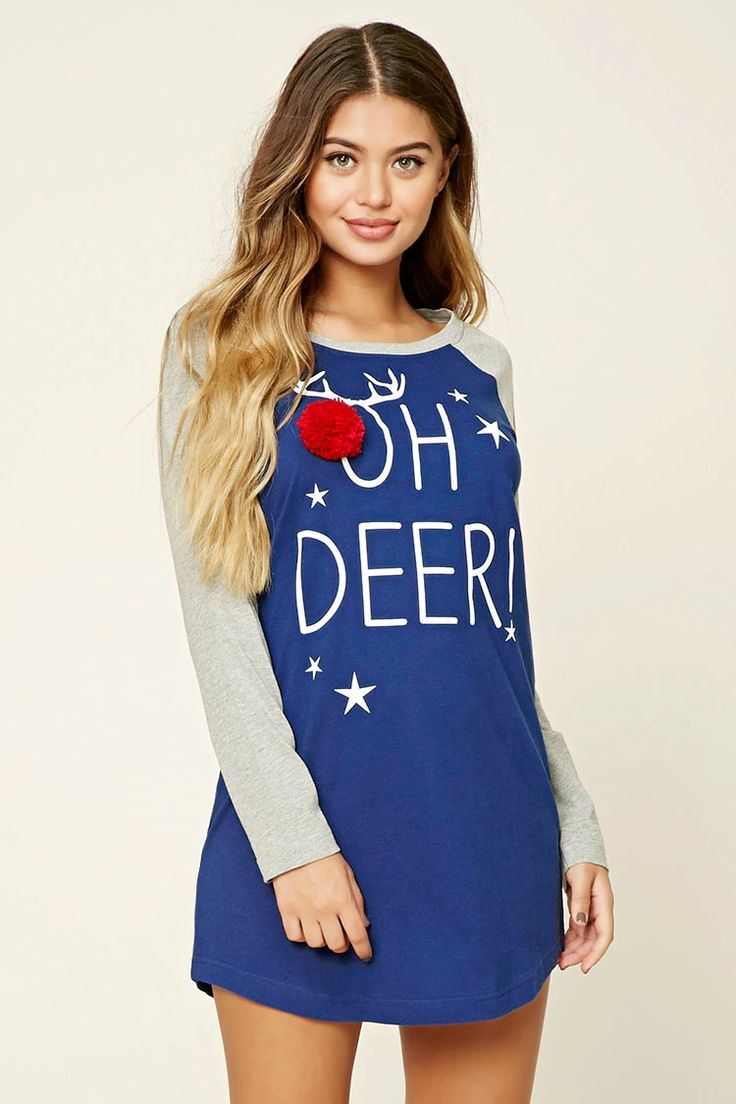 """A knit nightdress featuring an """"Oh Deer!"""" graphic with a pom-pom nose accent, a round neckline, long raglan sleeves, and a heathered trim."""