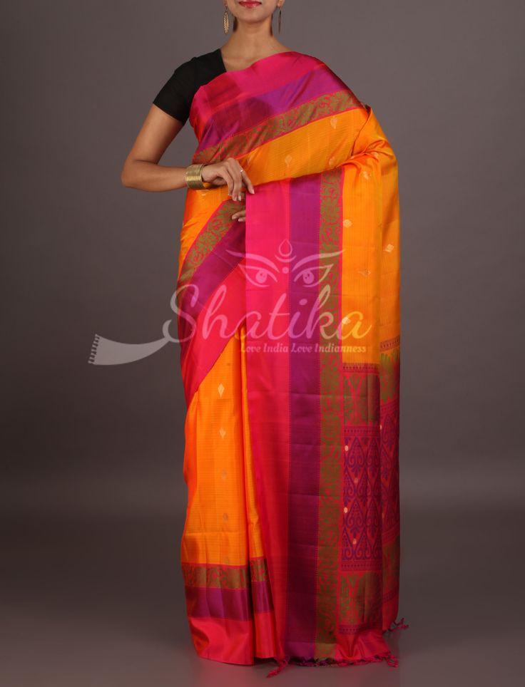 Siddhi Fiery Orange With Colorful Weave Border Pallu Pure Mulberry Silk Saree