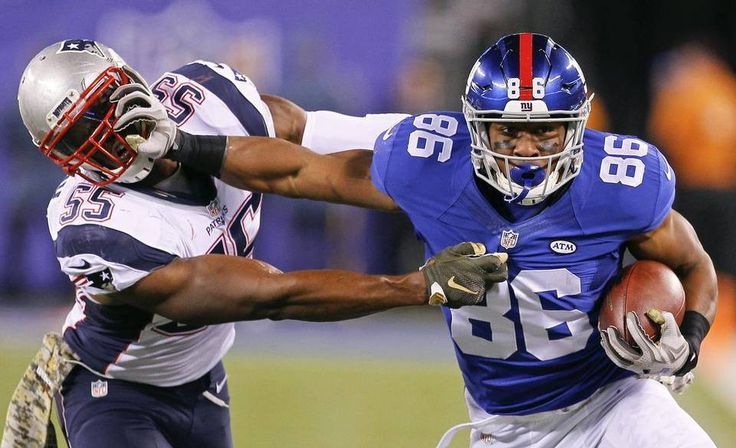 New York Giants tight end Jerome Cunningham (86) stiff-arms New England Patriots' Jonathan Freeny (55) during the first half of an NFL football game Sunday Nov. 15, 2015, in East Rutherford, N.J. (AP Photo/Gary Hershorn)