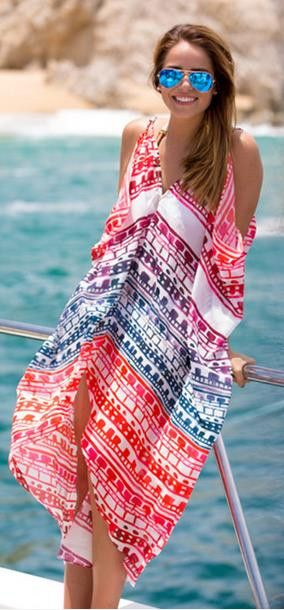 Loose Irregular V-neck Backless Beach Cover Up Dress