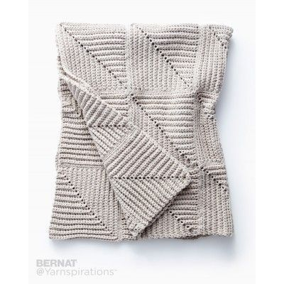 Free Easy Crochet Blanket Pattern   This mitered blanket is a fun and easy way to achieve stunning texture! Crocheted in Bernat Maker Home Dec.