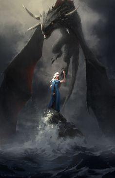 Este obra es de un espectáculo se llama Game of Thrones.  La mujer es la madre de dragones y ella es el último persona en su familia se llama Targaryen.  Este familia era los reys y reinas del Siete Reinos pero Jamie Lannister mató el rey y toda su familia excepto este mujer y su hermano.