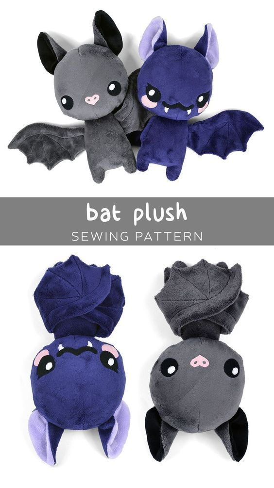 Free plush bat PDF pattern to download! So cute!