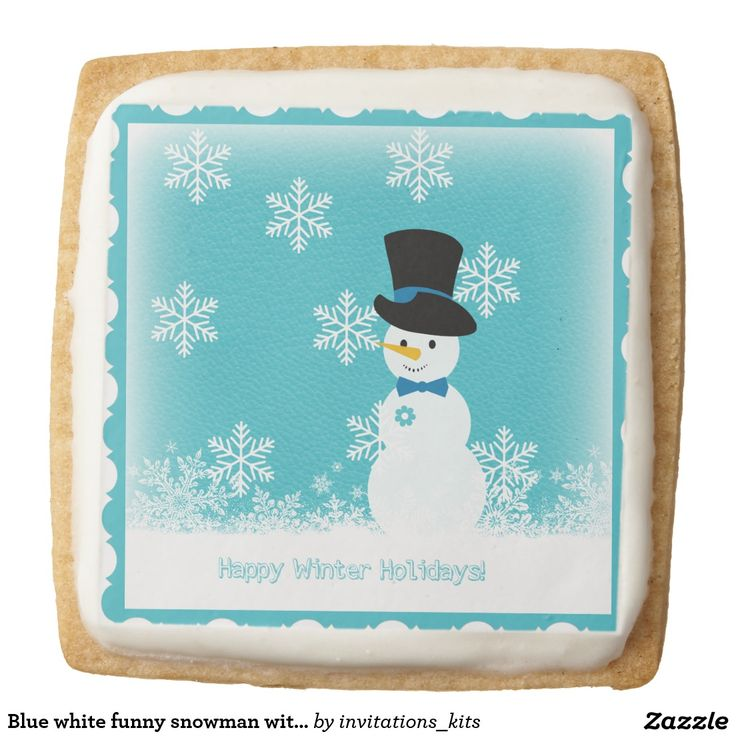 Blue white funny snowman with flakes