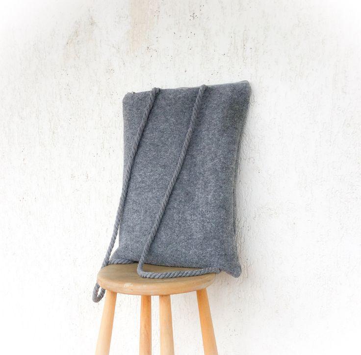 Urban Grey bag, Minimalist backpack, felt backpack, backpack women by AlfaHandmade on Etsy