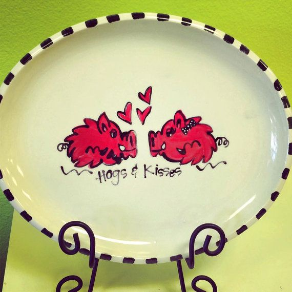 Personalized Hogs & Kisses Platter by melaniehewins on Etsy