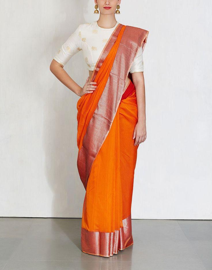 Orange Gita Saree-Raw Mango- img3
