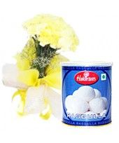 You can order this Sweet Floral Delight pack of 12 colorful carnations and 1Kg Haldiram Rasgulla to send someone.