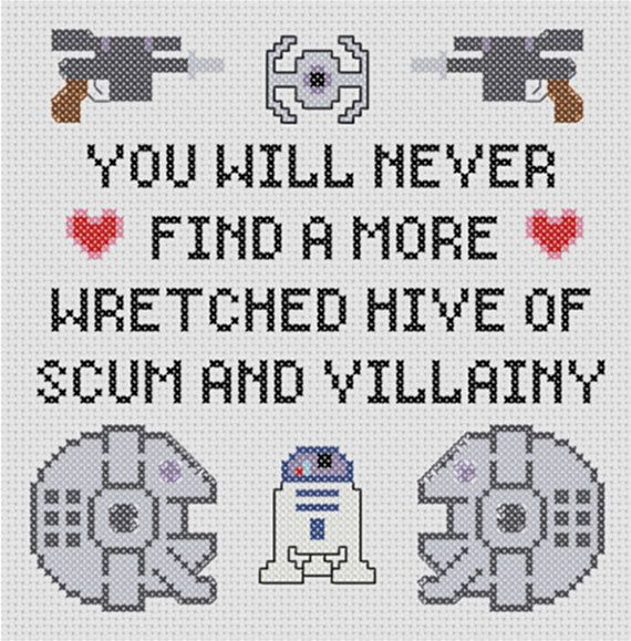 Star Wars Villainy Sampler Pattern. I need to get my cross stitch stuff back out for this one :)