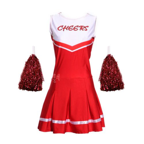 Cheerleader fancy dress outfit #uniform high #school musical #costume with pom po,  View more on the LINK: 	http://www.zeppy.io/product/gb/2/371741182058/