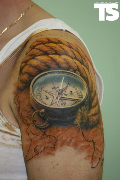 Photo realistic nautical themed tattoo.  #beautiful #inlove #colour #tattoo #realistic #compass #rope #map #ink