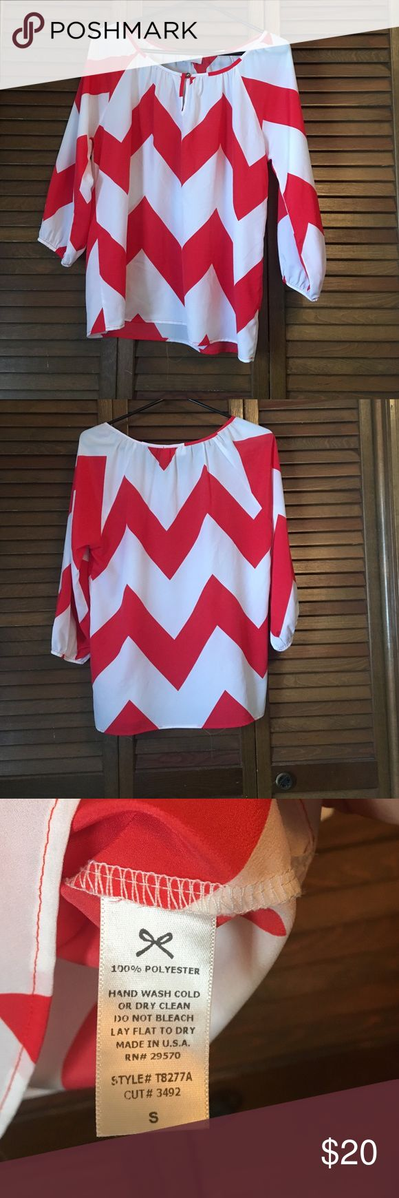 Chevron shirt Orange and white chevron shirt. Size small. Has a very light and comfortable fit. Bought at Altar'd State. Super cute shirt and in perfect condition. Everly Tops Blouses