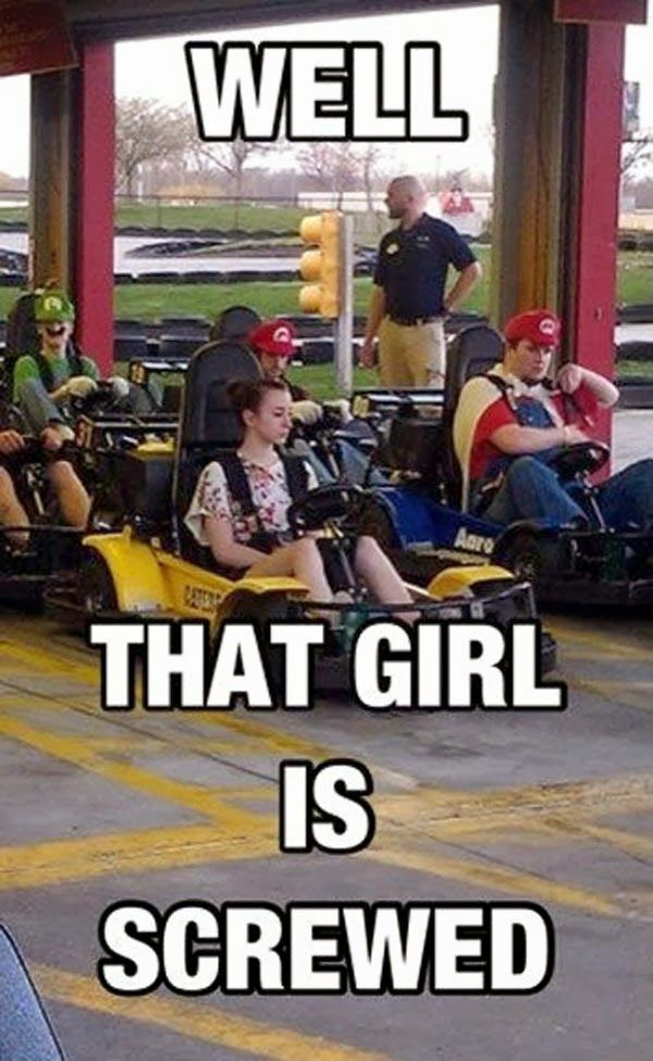 me and my dad both like to go go karting   and we just ignore everyone else me and him just race each   other