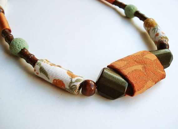 Xia  ooak handrolled fiber bead necklace copper green by Joogr, €24.00
