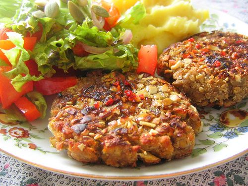 Pumpkin Seed-Crusted Lentil Patties with Roasted Garlic Mashed Potatoes and Salad