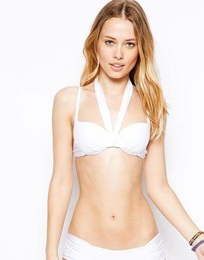 €13, Top de Bikini Blanco de By Caprice. De Asos. Detalles: https://lookastic.com/women/shop_items/108016/redirect