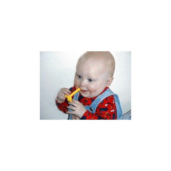 Chewy Giallo  ***GUARDA IL VIDEO*** .Chewy giallo viene utilizzato per bambini molto piccoli di soli  9-10 mesi di età, pero  può essere molto utile anche nei pazienti con limitata e difficoltosa apertura della bocca.