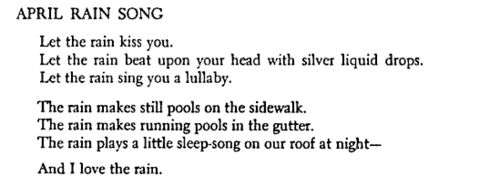 "Langston Hughes, ""April Rain Song"""